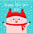 happy new year pig wearing red hat scarf chinise vector image vector image