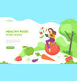 Healthy food web page design with vegetables