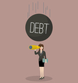 Heavy debt falling to careless business woman vector image vector image