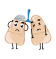 human sick lungs cartoon character vector image vector image