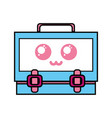 kawaii cute happy suitcase design vector image vector image
