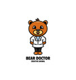 logo bear doctor mascot cartoon style