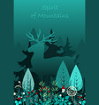 magic deer walking in the forest spirit of the vector image vector image