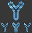 Metallic blue y letter logo design set vector image vector image