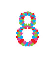 number eight composed by hearts vector image
