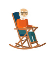 Old man sitting in rocking chair vector image vector image