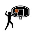 player basketball and basket silhouette vector image vector image