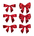 realistic red bow isolated on white element vector image