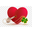 red heart shaped lock and key with lucky leaf vector image vector image