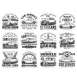 retro car auto vehicle engine spare part icons vector image vector image