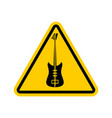 rock and roll warning sign caution rock music vector image vector image