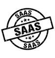 saas round grunge black stamp vector image vector image