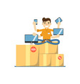 seller man with electronic gadgets vector image vector image