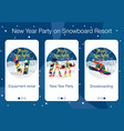 set mobile app pages about new year holiday vector image vector image