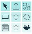 set of 9 online connection icons includes display vector image vector image