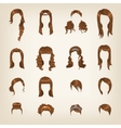 Set of female brown hair vector image vector image