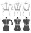 set of of geyser coffee makers vector image vector image
