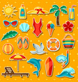 set summer and beach objects vector image vector image