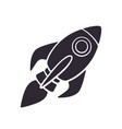 silhouette rocket space with a flame vector image