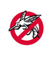 stop mosquito sign mascot vector image
