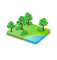 trees and lake green field vector image vector image