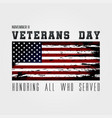 usa veterans day greeting card with usa flag on vector image vector image