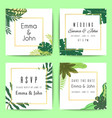wedding floral invitation cards with tropical palm vector image vector image