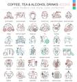 coffee tea alcohol drinks color line vector image