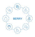8 berry icons vector image vector image