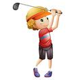 A boy golfing vector image vector image