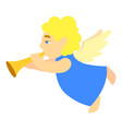 angel music flute icon cartoon style vector image