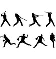 baseball silhouettes collection 4 vector image vector image