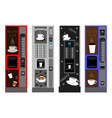 big colored set different types coffee machine vector image
