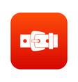 black metal belt buckle icon digital red vector image vector image