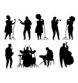 black silhouette jazz musicians singer and vector image