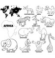 cartoon african animals set coloring book page vector image vector image