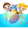 cartoon boy and girl playing beach ball with dolph vector image vector image
