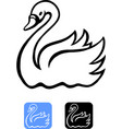 cartoon of an swan in black and icon design vector image
