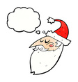 cartoon santa face with thought bubble vector image vector image