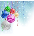 christmas bauble blue background vector image