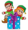 christmas elf theme 3 vector image