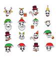 christmas emoji set vector image