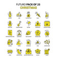 christmas icon set yellow futuro latest design vector image