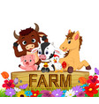 collection farm animals in the garden vector image