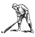 correct way to pick up ball lacrosse vintage vector image vector image