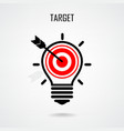 Creative light bulb and target concept vector image vector image