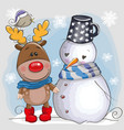 cute christmas deer and snowman vector image vector image