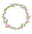 cute flower circle frame on white background vector image vector image