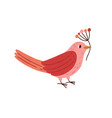 cute pink bird holding branch with red winter vector image