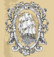 decorated victorian frame with compass and ship vector image vector image